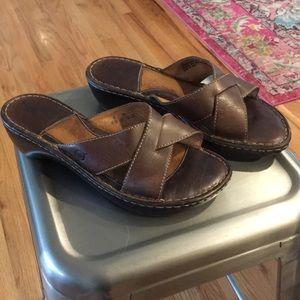 Born Shoes - Born Brown Leather Slide Sandals